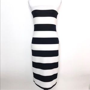 Tyche Strapless Black & White Stripe Maxi dress